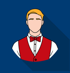 restaurant waiter with a bow tie icon in flat vector image