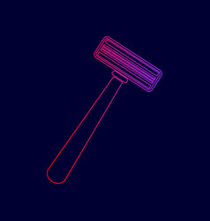safety razor sign line icon with gradient vector image