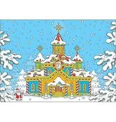 Santa Claus house vector image