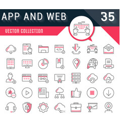 Set flat line icons seo and web design vector