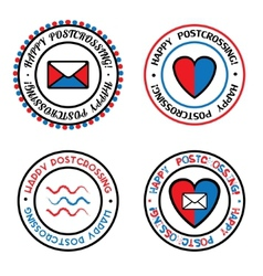 Set of colored seals for Postcrossing vector image