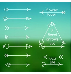 Set of floral arrows line art and logo vector image vector image