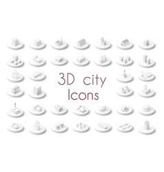 set of isometric city vector image