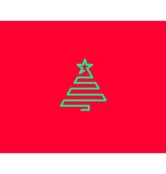Stylized line christmas tree with star spruce vector