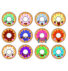 sweet donut character kawaii with glaze set of vector image vector image