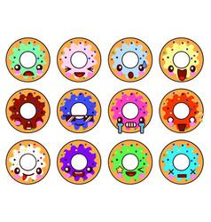 sweet donut character kawaii with glaze set of vector image vector image