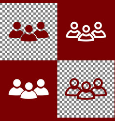 Team work sign bordo and white icons and vector