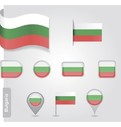 The Bulgarian flag - set of icons and flags vector image vector image