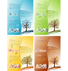 tree winter spring summer autumn calendar 2012 ep vector image