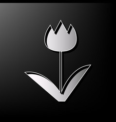 Tulip sign gray 3d printed icon on black vector