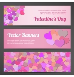 Valentines Day horizontal banners on lilac vector image