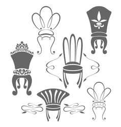 Vintage furniture symbols vector image