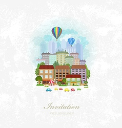 Vintage invitation card with hot air balloons over vector