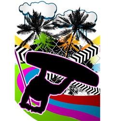 wakeboarder summer background vector image