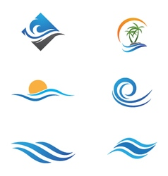 Water wave logo template vector