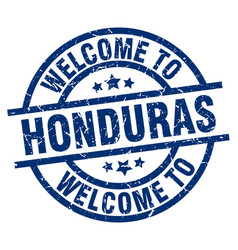 Welcome to honduras blue stamp vector