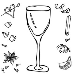 White wine glass hand drawn vector