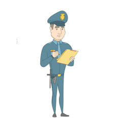 Young policeman in uniform writing on clipboard vector