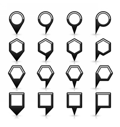 Flat map pins sign black location icon with shadow vector
