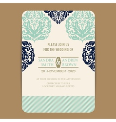 wedding navy blue vintage invitation card vector image