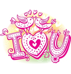 Love sketchy with birds and heart vector image