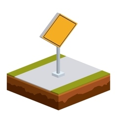 Isolated isometric yellow road sign design vector