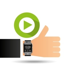 Smart watch on hand- video player vector