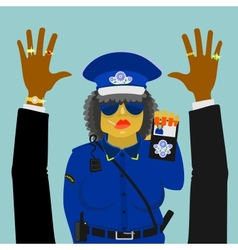 Woman police officer on the job vector