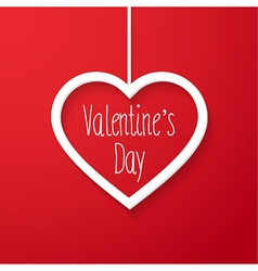 Valentines day card with hanging heart vector