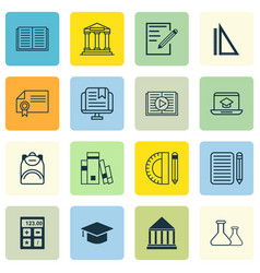 Set of 16 school icons includes library diploma vector