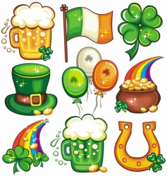 st Patrick day icons vector image