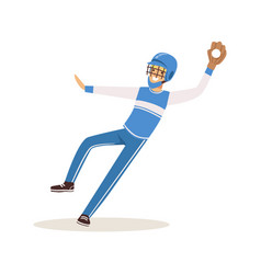 Baseball player in a blue uniform pitching vector