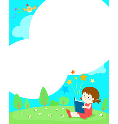 blank template girl reading a book vector image