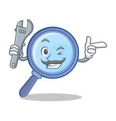 mechanic magnifying glass character cartoon vector image