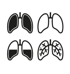 Human Lung Icons Set vector image