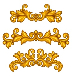 Set of baroque ornamental antique gold scrolls and vector