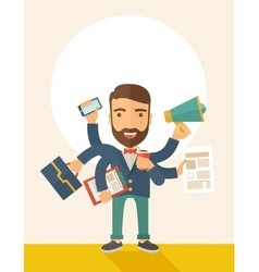 Man doing multitasking vector image