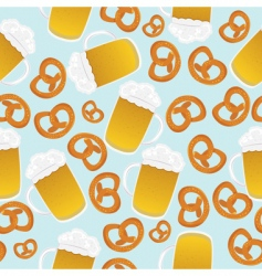 Beer mugs and pretzels vector