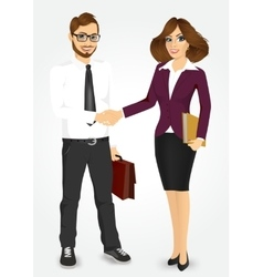 Businessman and businesswoman shaking hands vector