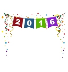 2016 new year flags christmas garland and vector
