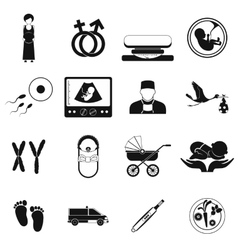 Pregnancy black simple icons set vector