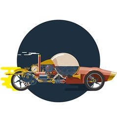 Start up concept steampunk racing car vector