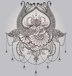 Mehndy flowers tattoo template vector