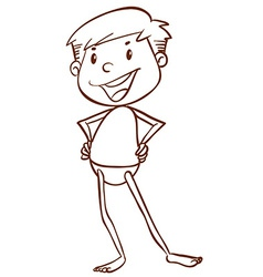 A plain sketch of a boy going to the beach vector