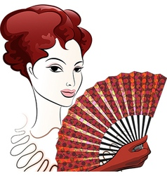 Beautiful woman with a fan vector image vector image