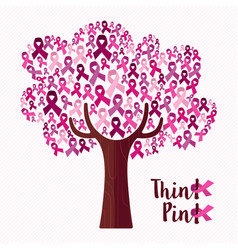 Breast cancer awareness month pink ribbon tree art vector