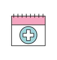 Calendar for menstrual period with cross health vector