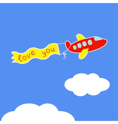 Cartoon red plane ribbon with words love you card vector