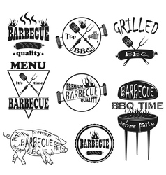 Collection of vintage retro BBQ badges and labels vector image