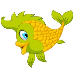 Cute cartoon green fish posing vector image